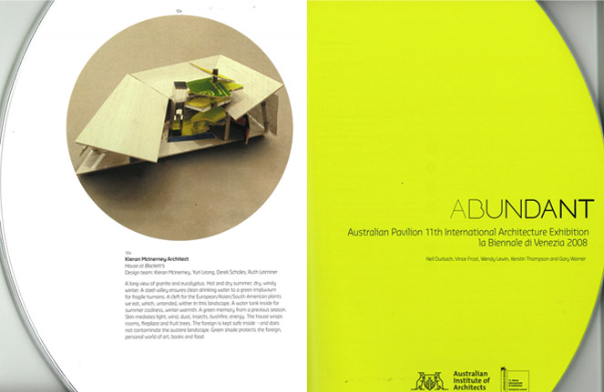 Kieran McInerney Architect:: Abundant :: Australian Pavilion 11th International Architecture Exhibition la Biennale di Venezia 2008 farmhouse oasis typical Australian harsh climate wraps existing rooms vegetation protecting from climate reduce footprint material and detritus
